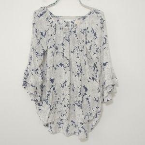 CUPIO Long Sleeve Floral Bell Sleeve Blouse Size L